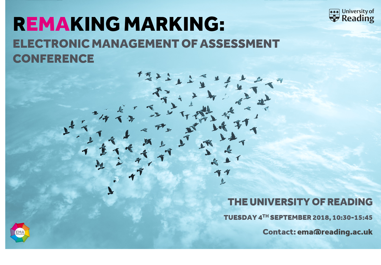 Remaking Marking Conference poster, displaying birds migrating in an arrow formation