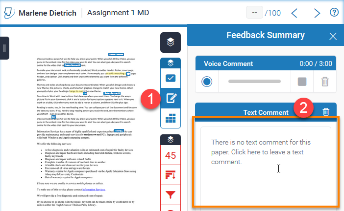 "Image showing expanded sidebar and highlighted general comments Box - ""Text Comment"""