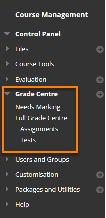 Control Panel' Grade Centre Highlighted