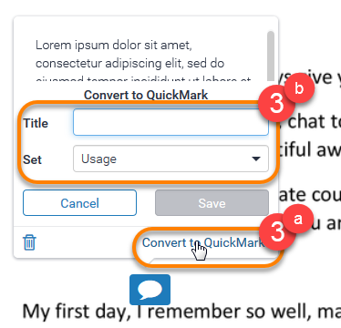 Convert a comment to QuickMark process