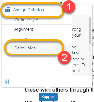 Assign Criteria Window