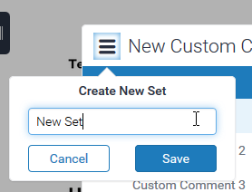 "image showing the new popup which appears when ""create new set"" is selected, where the set's name should be entered with save ansd cancel buttons below it"
