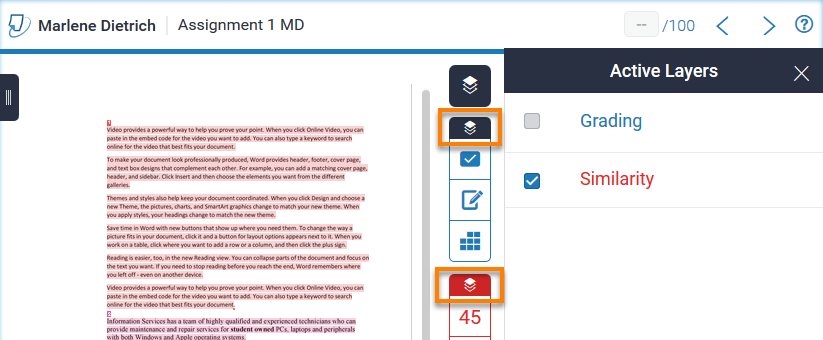 Turnitin Assignment with Similarity Layer overlayed