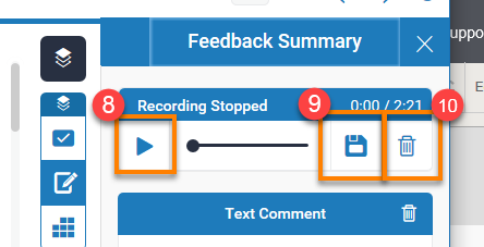 image showing the play button, save recording button and delete recording button inside the feedback panel