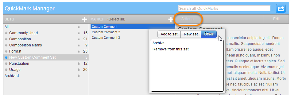 an image showing the actions button clicked, Other selected below it and the options to archive and remove from this set below it