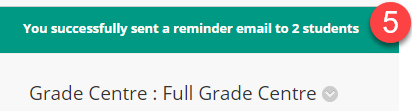 Grade Centre - Send Reminder success message