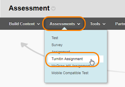 Assessments drop down menu in a content area, turnitin assignment selected.