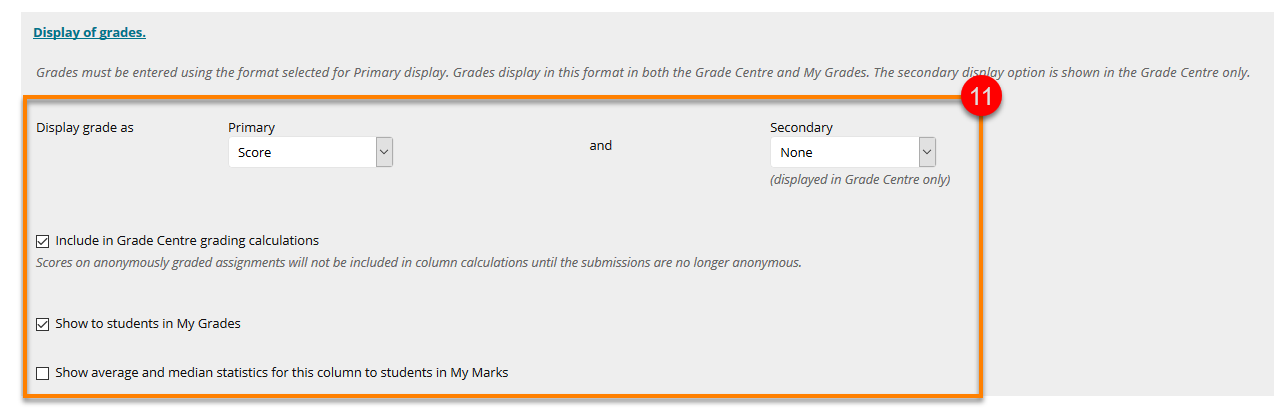 Display of grades menu options
