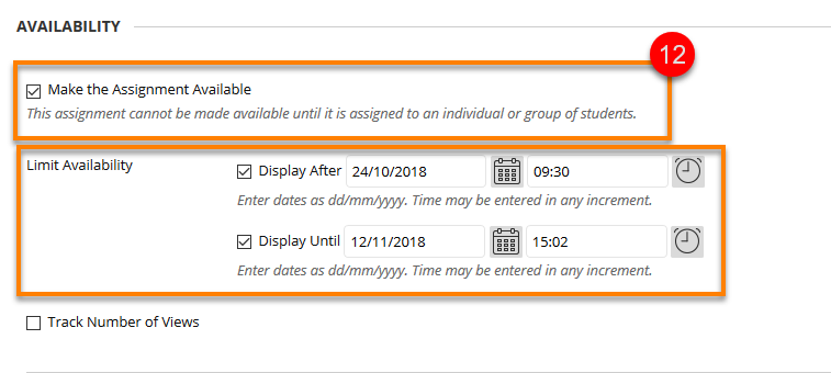 Assignment availability menu