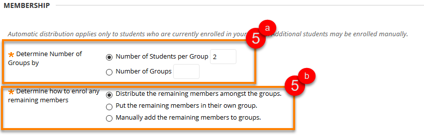 Group enrolment choice menu - via number of students or groups and how to distribute remaining members