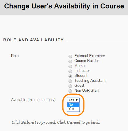 Showing the course role options and the availability yes or no options