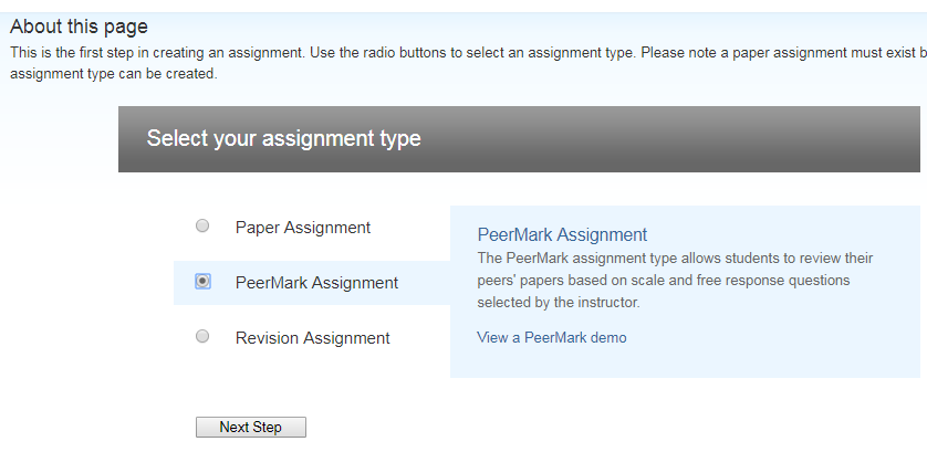 Choosing PeerMark assignment in the assessment types