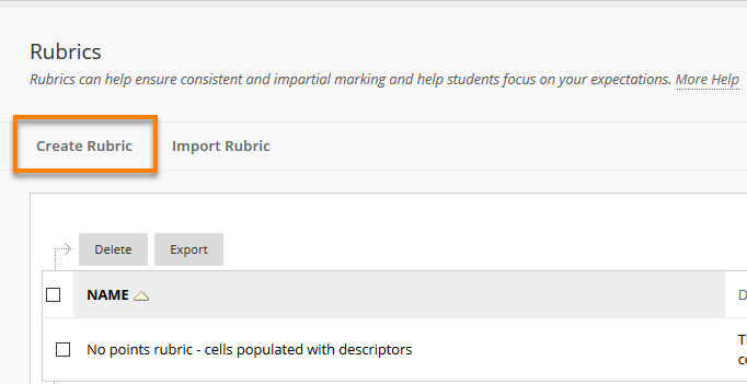 Create rubric Button
