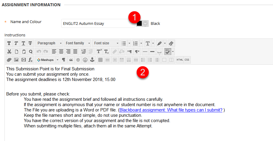 Assignment name and instructions