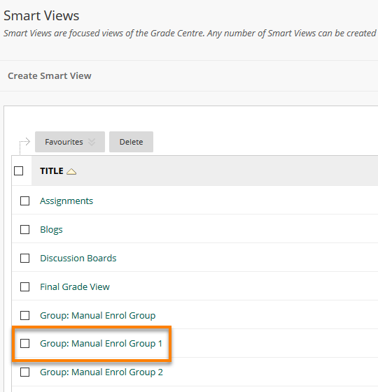 A list of Smart Views, group highlighted