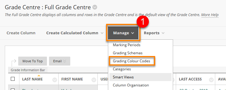 How To Make Every Grade More Like >> Blackboard Colour Coding In The Grade Centre Blackboard