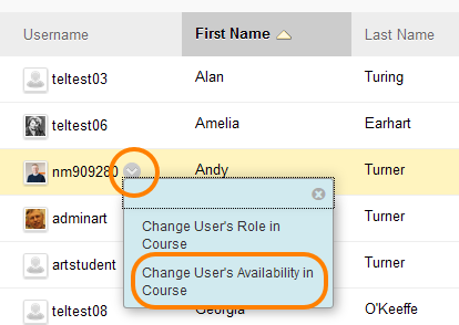 Grey editing chevron, showing the drop down menu and change users availability selected