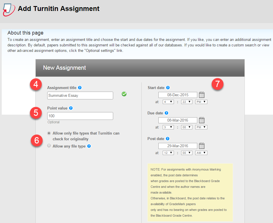 Assignment set up screen, showing steps four to seven