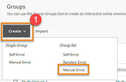 blackboard creating multiple manual enrol groups for your course