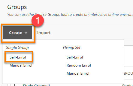 Self Enrol Group Create menu