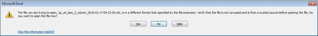 Excel warning message
