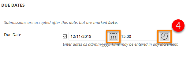 Due Date Time and date buttons