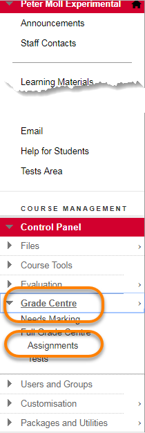 Control Panel with Grade Centre Assignments hightlighted