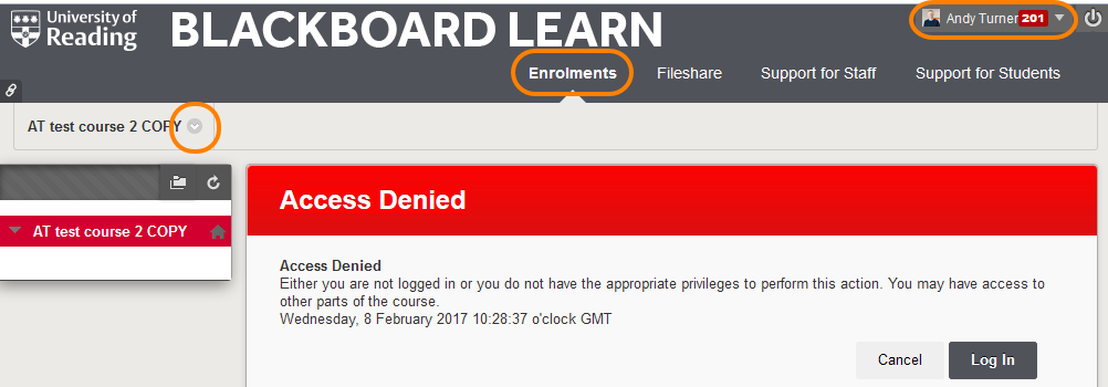 Access Denied menu in the course you have unenrolled from