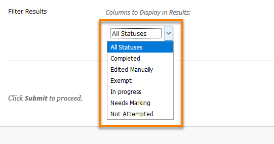 Category and Status Options showing list of Assessment status