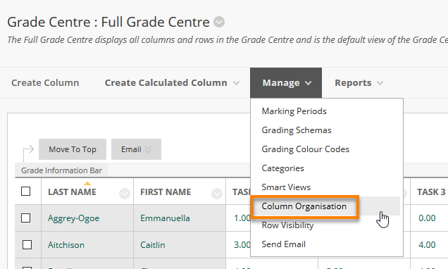 View of the Grade Centre Manage Menu, location of Column Organisation