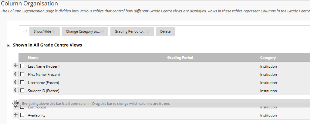 View of Grade Centre column list where user is ordering columns
