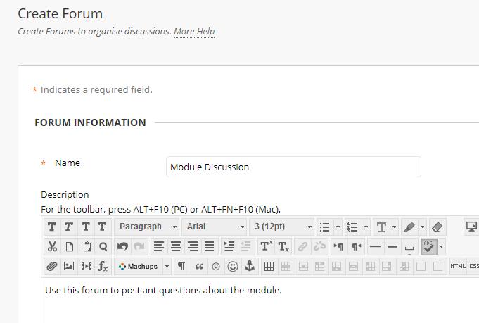 Blackboard: Creating Discussion Forums - Blackboard Help for