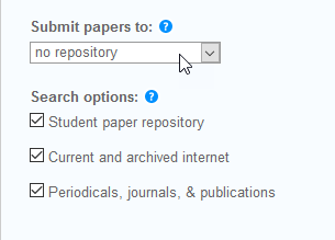 Turnitin options: Submit papers to: No repository chosen.