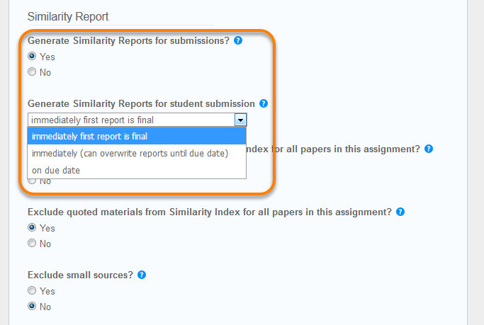 The drop down menu for different similarity report creation