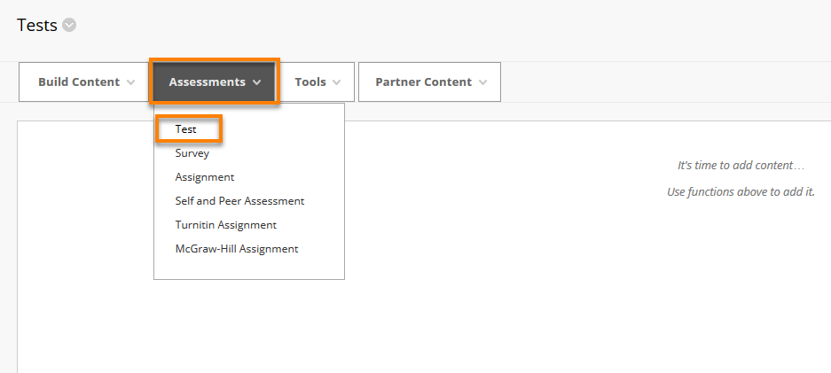 In a content area selecting Assessments menu and Tests