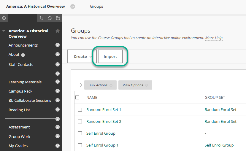 A view of the groups page with the Import button highlighted.
