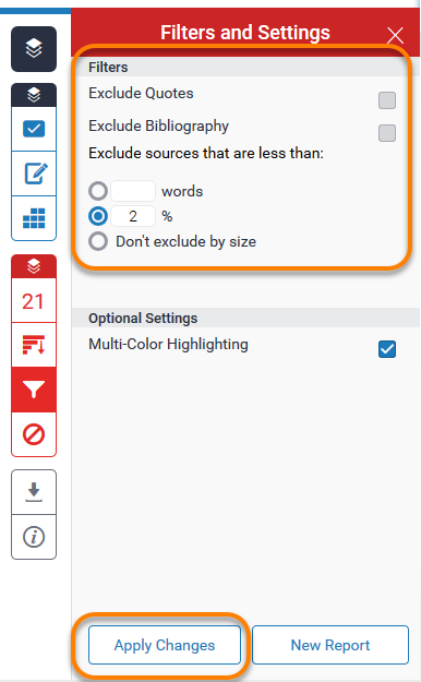View of filters and settings in the Feedback studio