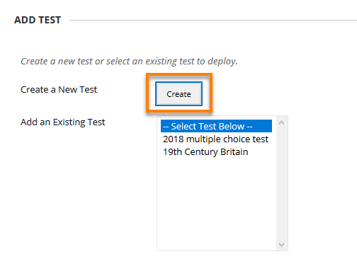 Create button in the add test page