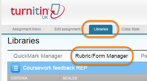 View within a turnitin assignment, clicking on libraries rubric / form manager
