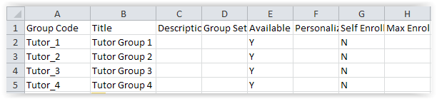 A view of an Excel table with the group Code and title
