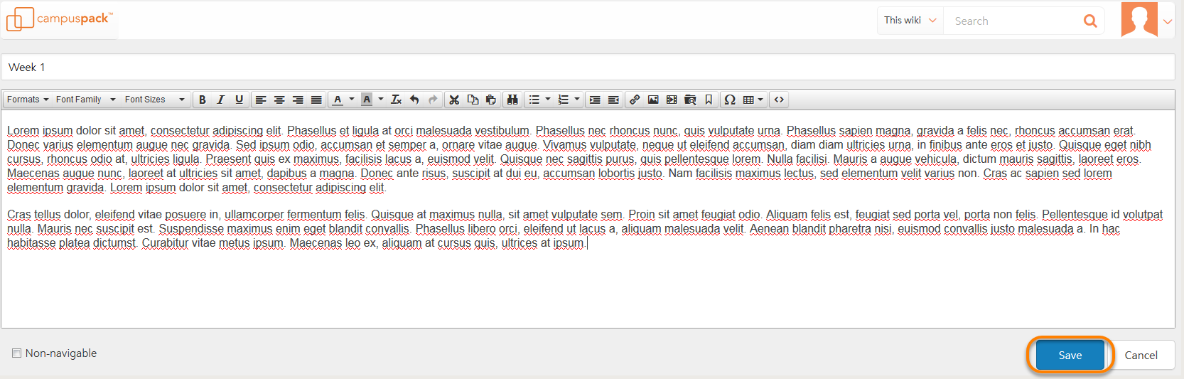 A view of the campus pack text editor with text being entered