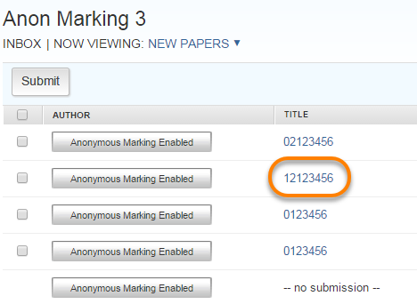 Submission Id number highlighted in Assignment inbox