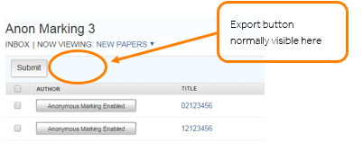 In the assignment inbox, showing where the export button would be and how hidden in anonymous assignment