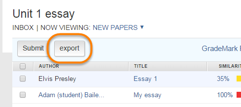 Highlighting the export button in the assignment inbox on a named assignment