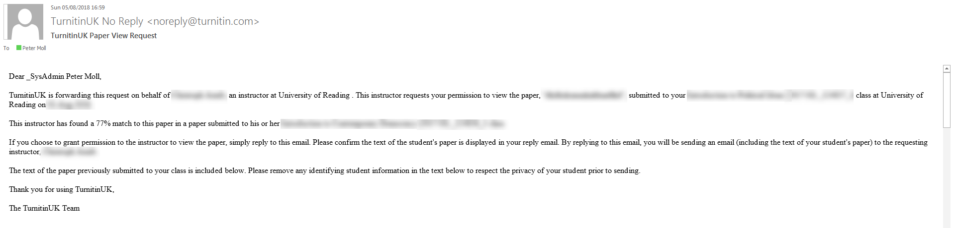An example of an email request to view a paper