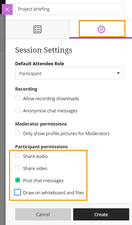 Collaborate - session settings
