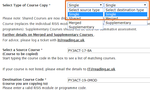 Single-Single course copy