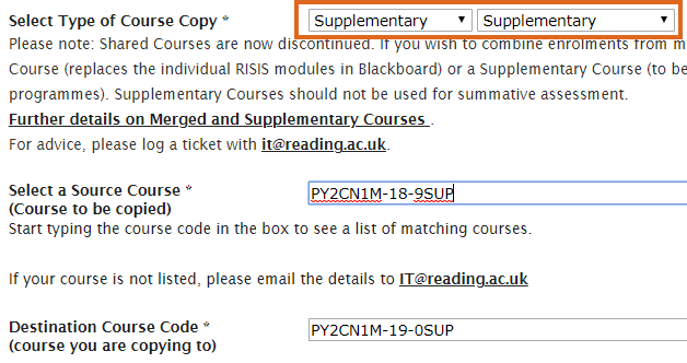 Supplementary course copy