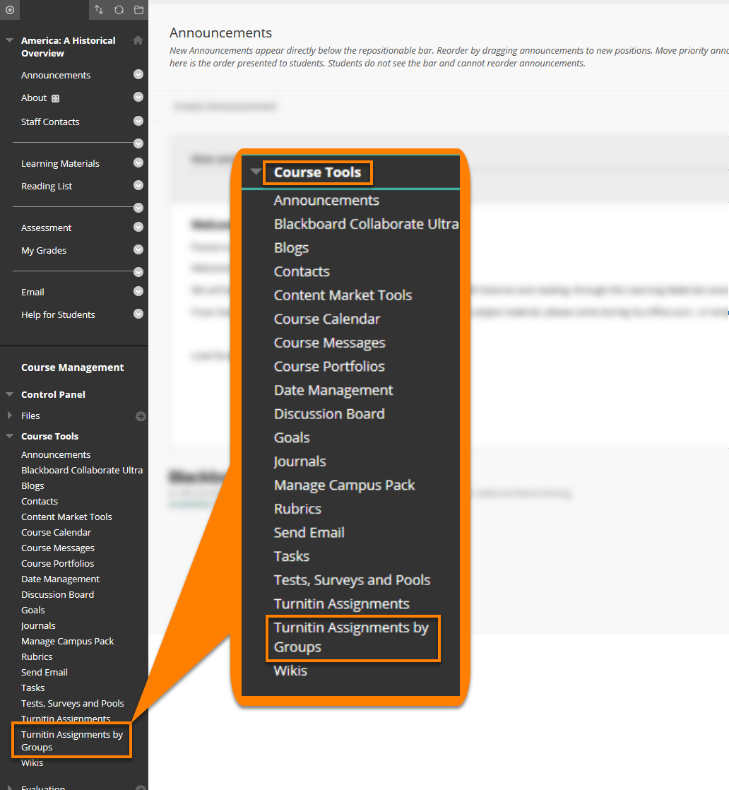 A composite graphic magnifying the Blackboard Course Tool Menu. Where to access Turnitin