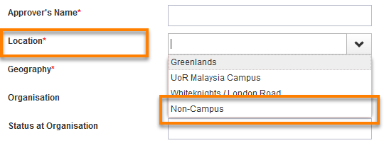 The new user request form with the location field - non-campus option highlighted.